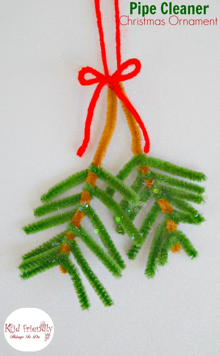 Easy pipe cleaner pine bough ornament for kids to make at for Pipe cleaner christmas crafts