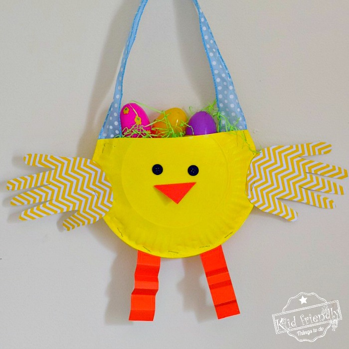paper plate easter chick kid craft