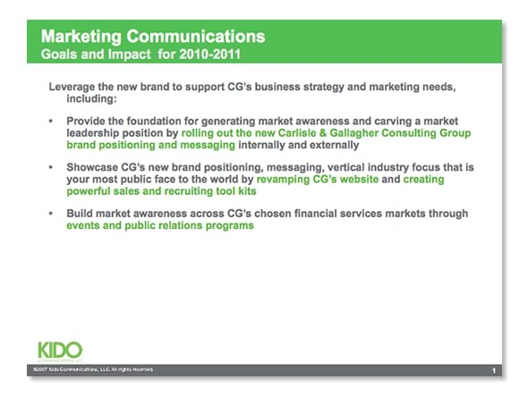 Carlisle  Gallagher Consulting Group \u2013 Marketing Communication