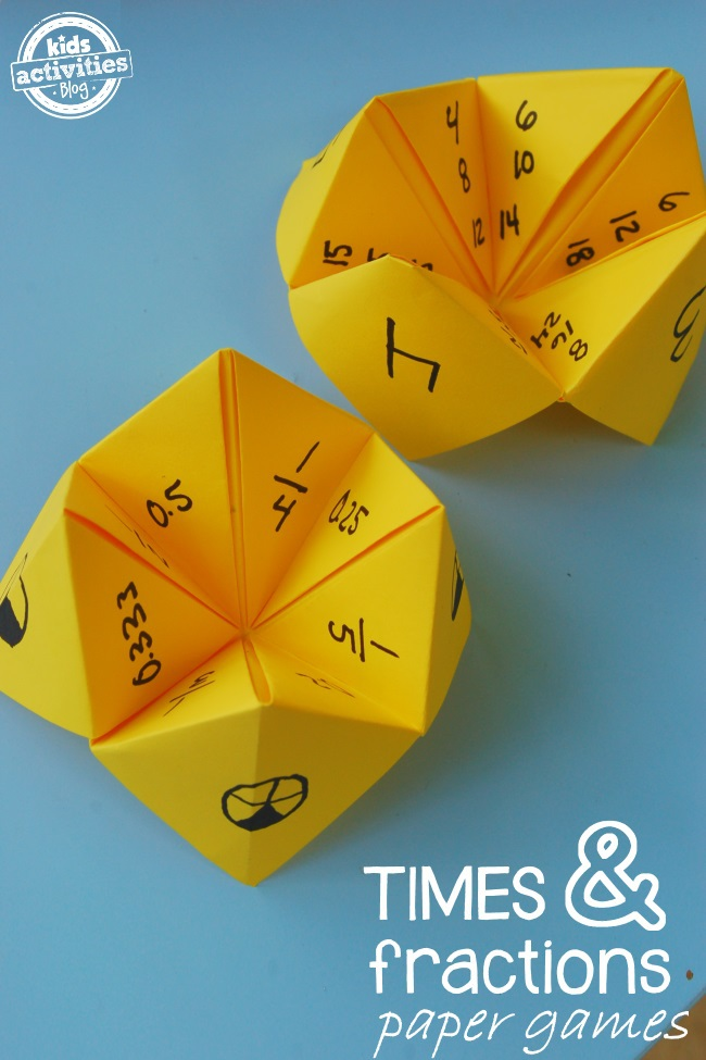 Paper Math Games Fractions and Multiplication