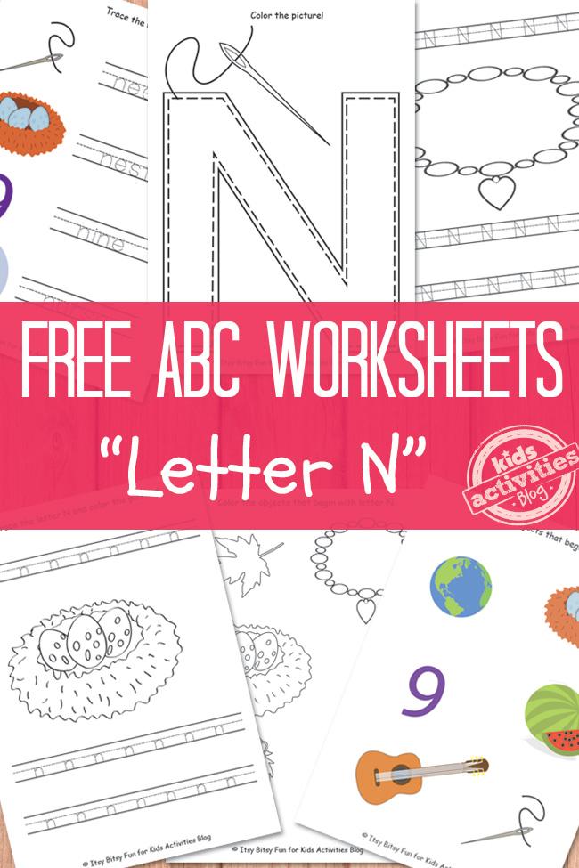 Letter N Worksheets Free Kids Printable