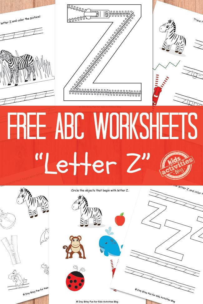 Letter Z Worksheets Free Kids Printable