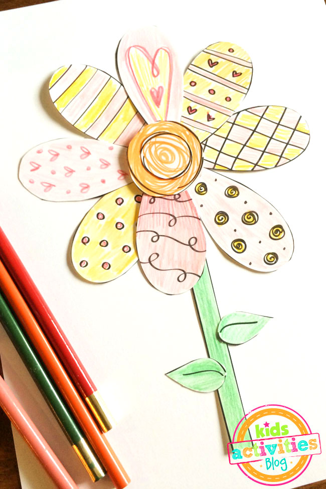 Printable Spring Flower Coloring Craft To Make With Your Little Ones!
