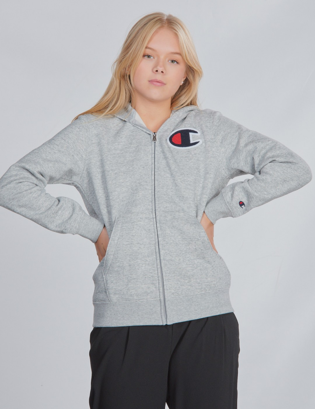 Champion Jungen Kapuzenpullover Hooded Full Zip Sweatshirt Grau Champion Rochester
