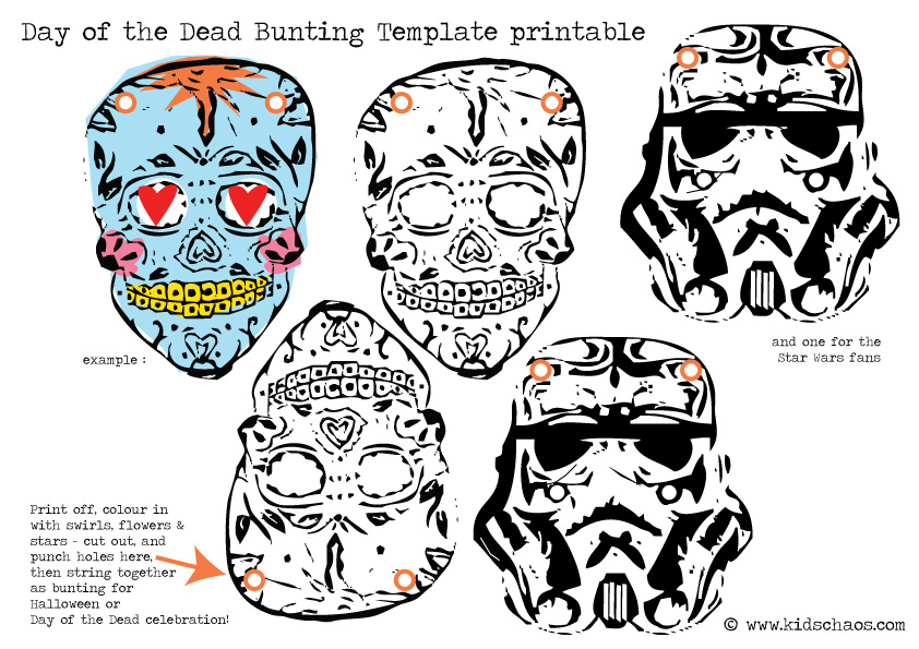 Day of The Dead skull bunting FREE printable - KidsChaos