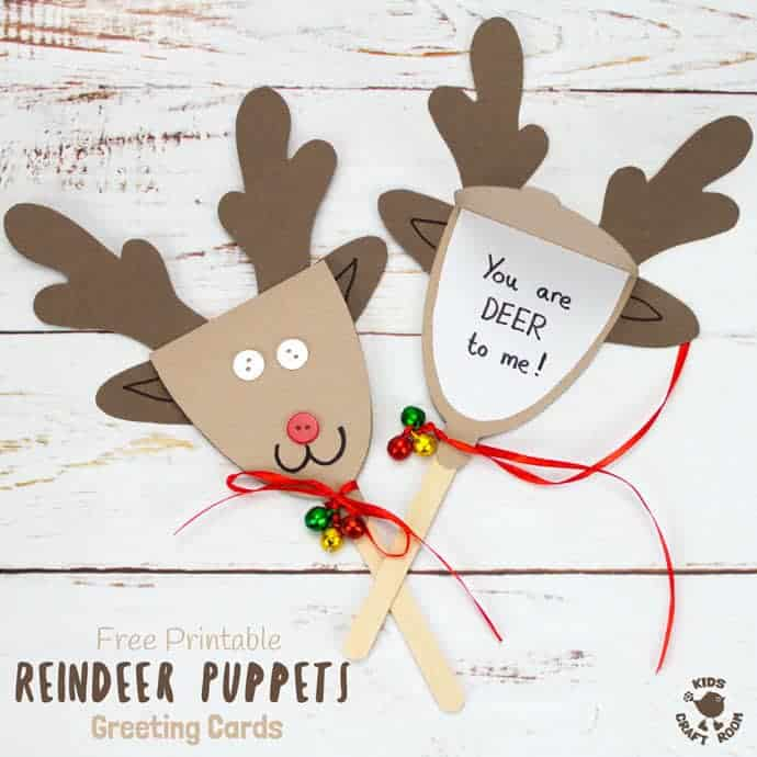 Free Printable Template Reindeer Puppet Greeting Cards - Kids Craft Room