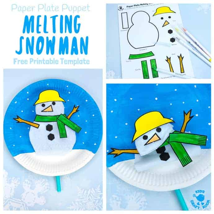 Free Printable Paper Plate Melting Snowman Template - Kids Craft Room