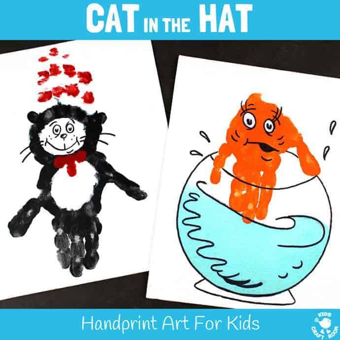 Cat in the Hat Handprint Crafts - Kids Craft Room