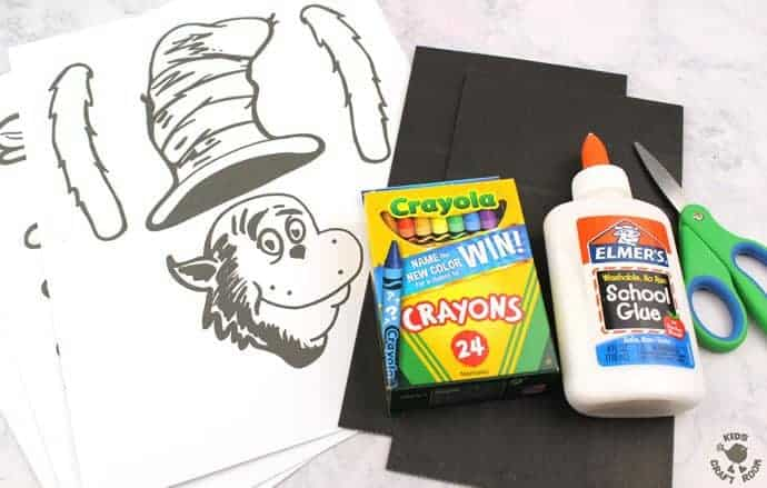 Free Printable Paper Bag Cat In The Hat Puppets - Kids Craft Room