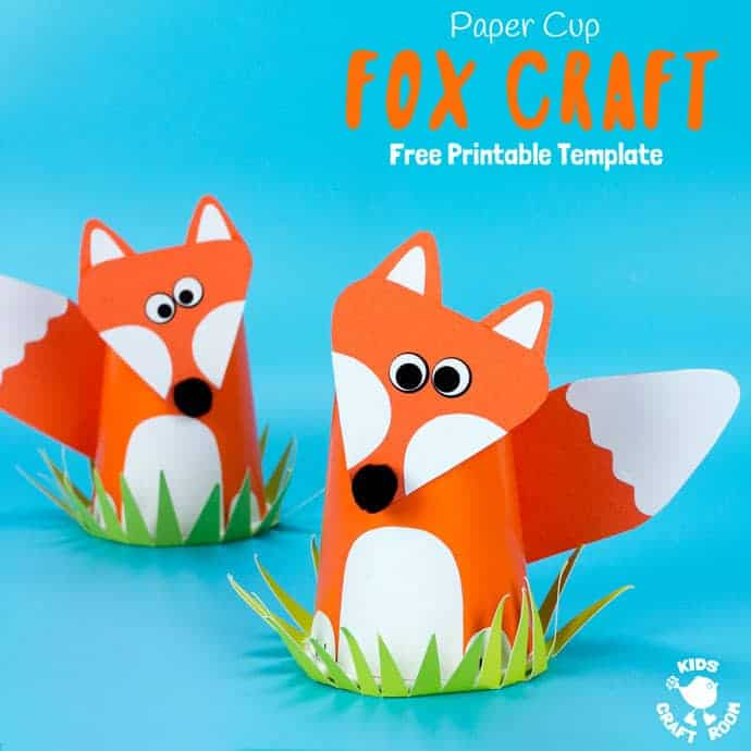 Free Printable Paper Cup Fox Craft Template - Kids Craft Room