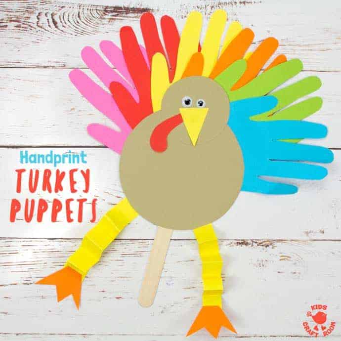 Thanksgiving Handprint Turkey Puppets - Kids Craft Room