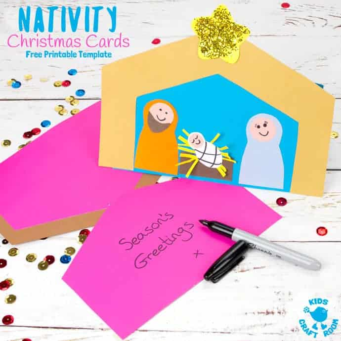 Free Printable Nativity Christmas Card Template - Kids Craft Room