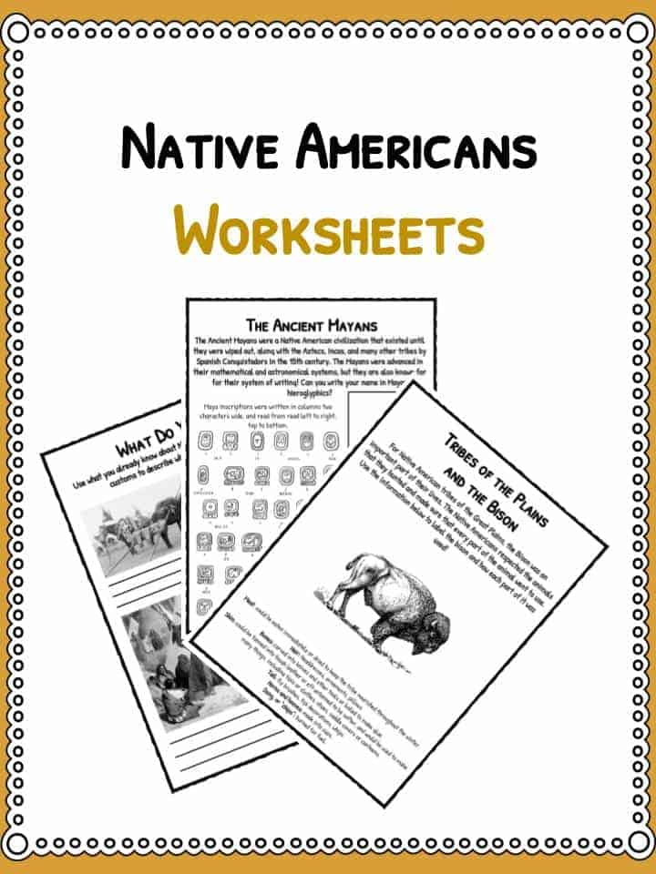 Native American History Facts  Worksheets PDF Lesson Resources