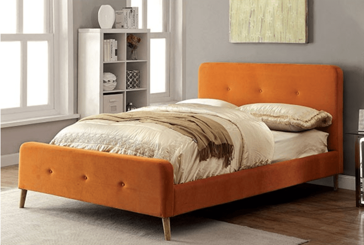 Full Size Bed With Storage Contempo Upholstered Bed (gray, Orange, Navy, Beige