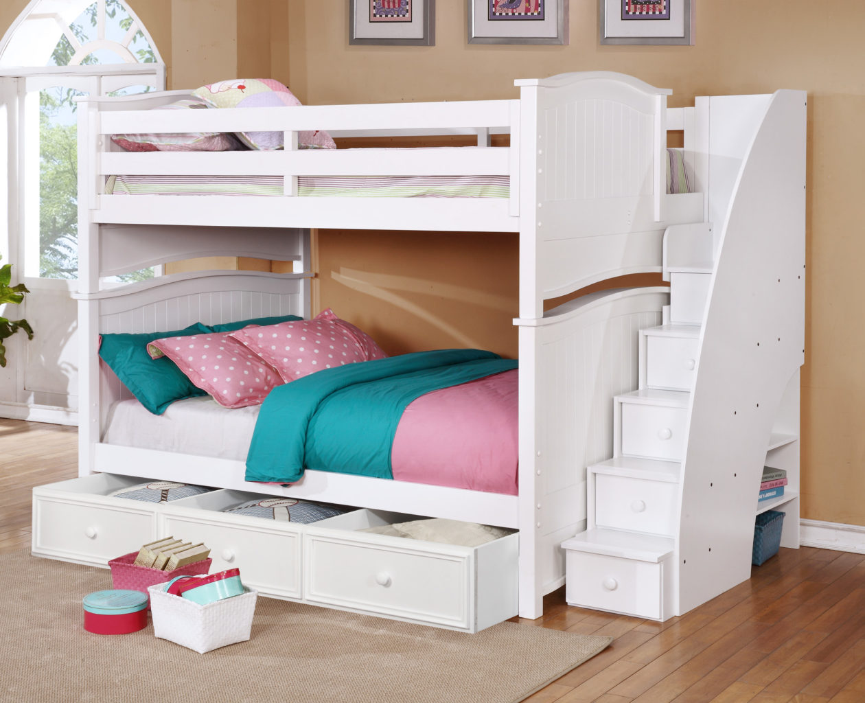 Baby Toddler And Town Ashton Full Over Full Bunk Bed With Staircase And