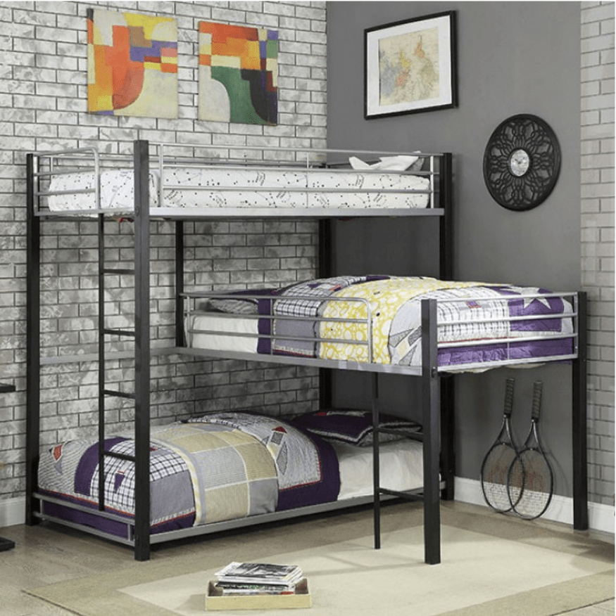 Audrey Triple Bunk Bed In Sand Black And Silver