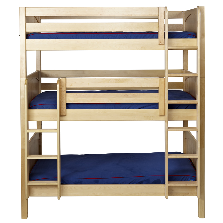 Maxtrix Triple Bunk Bed With Straight Ladder White