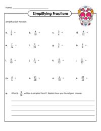 Worksheet Reducing Fractions Simplest Form - simplying ...