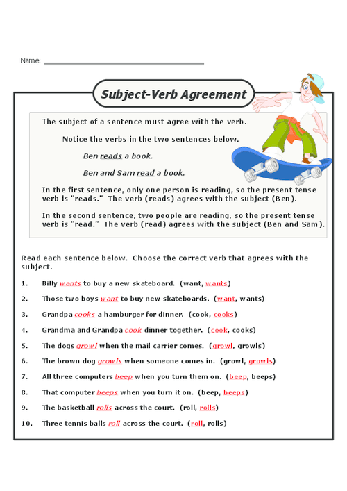 Subject Verb Agreement Worksheets For Grade 7 With Answers – Subject Verb Agreement Worksheets with Answers