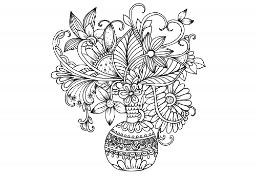 Advanced Flower Coloring Pages 5