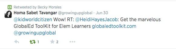 Twitter for Teachers example- Kid World Citizen