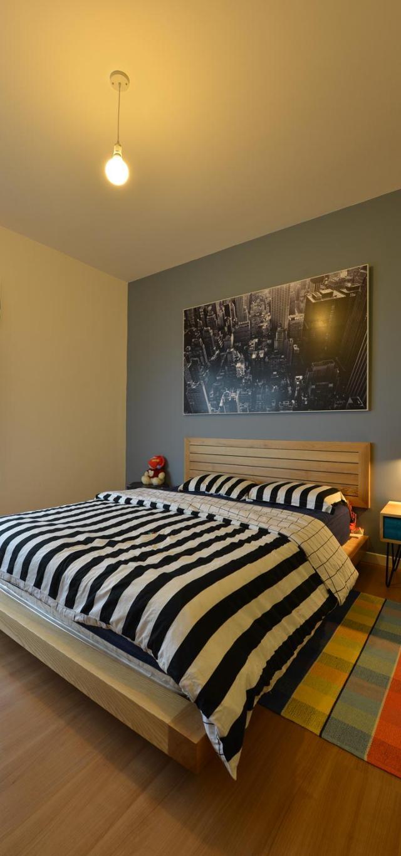 Phòng ngủ mộc mạc với màu sắc tươi sáng. Ảnh © Lê Anh Đức