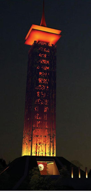 Mô hình Tháp lửa 18 tầng trong quy hoạch chung khu di tích lịch sử Đền Hùng (Ảnh denhung.org.vn).