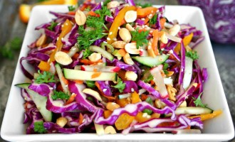 Orange and Ginger Cabbage Slaw with Roasted Peanuts 4