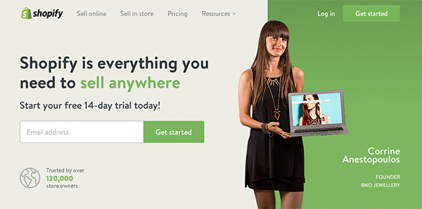 The updated Shopify home page
