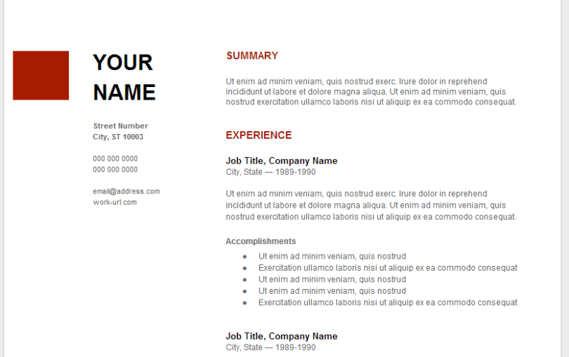Resume Template Google Docs Resume Templates Google. high ...