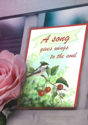 A song gives wings to the soul birthday card with original art print of mockingbird on cherry tree branch.