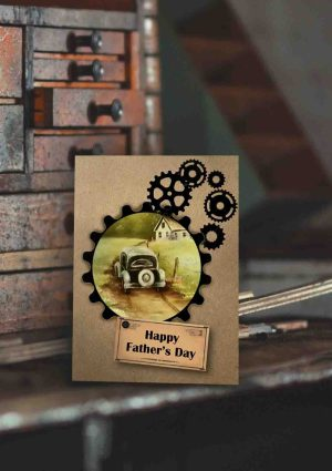 Father's Day 2017 vintage car, gear stamps on brown kraft card
