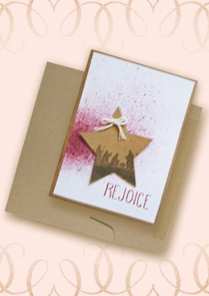 Rejoice Christmas Card Kraft Star with Nativity Scene Hand Lettered Word Rejoice