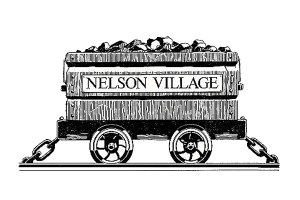 Nelson Village coal tub sign
