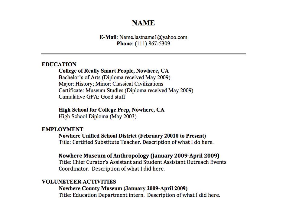 resume title for curriculum vitae