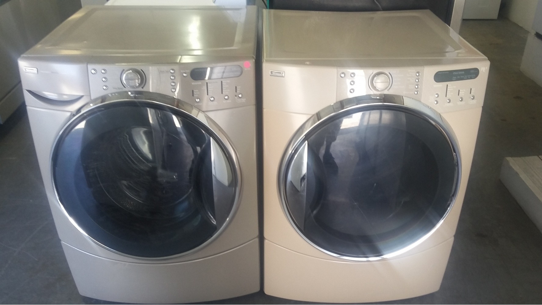 Standard Washer And Dryer Depth Kenmore He Tan Front Load Washer W/ Gas Dryer Set - Kimo's