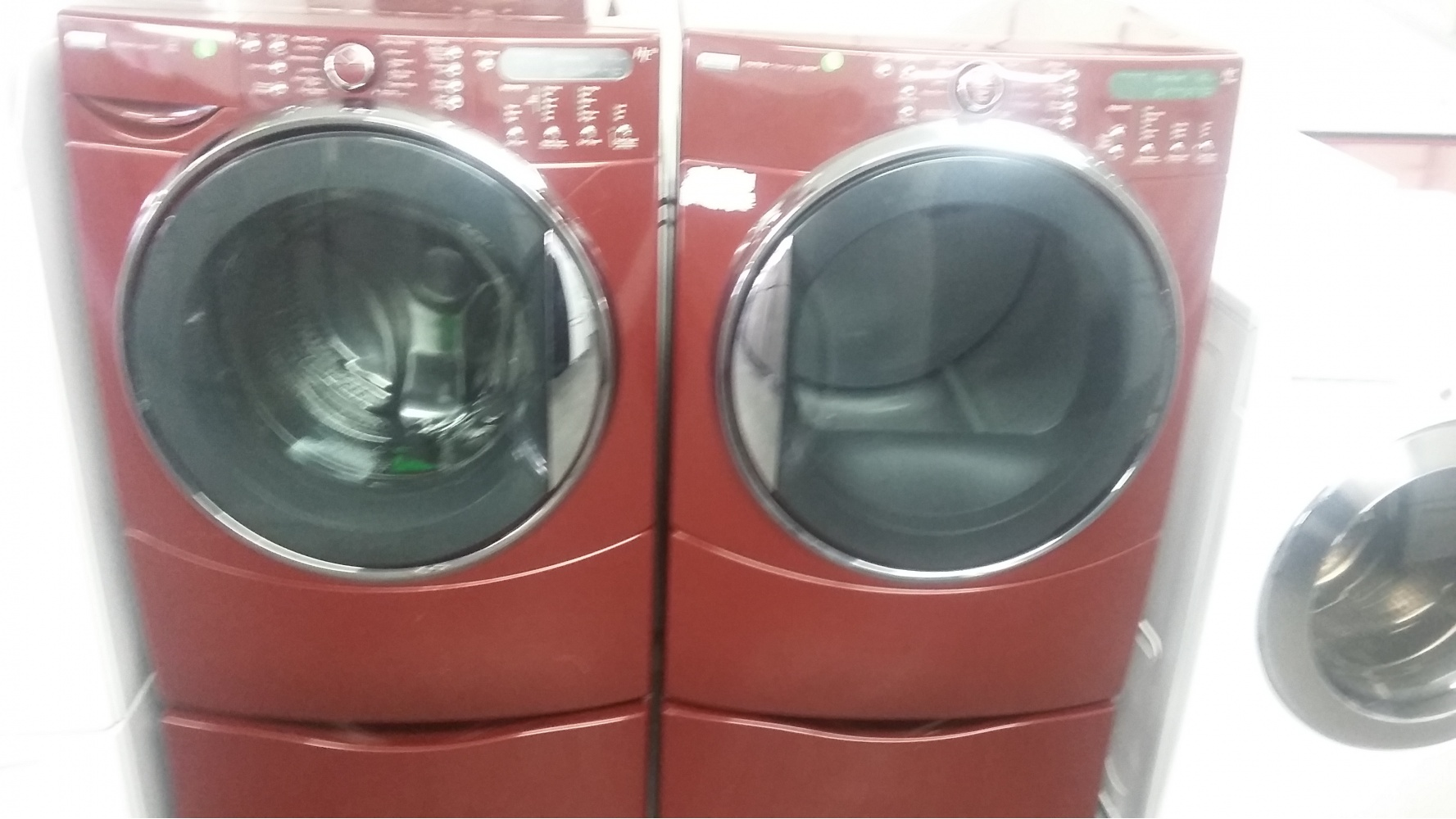 Standard Washer And Dryer Depth Kenmore He5 Burgundy Front Load Washer W/ Gas Dryer Set On