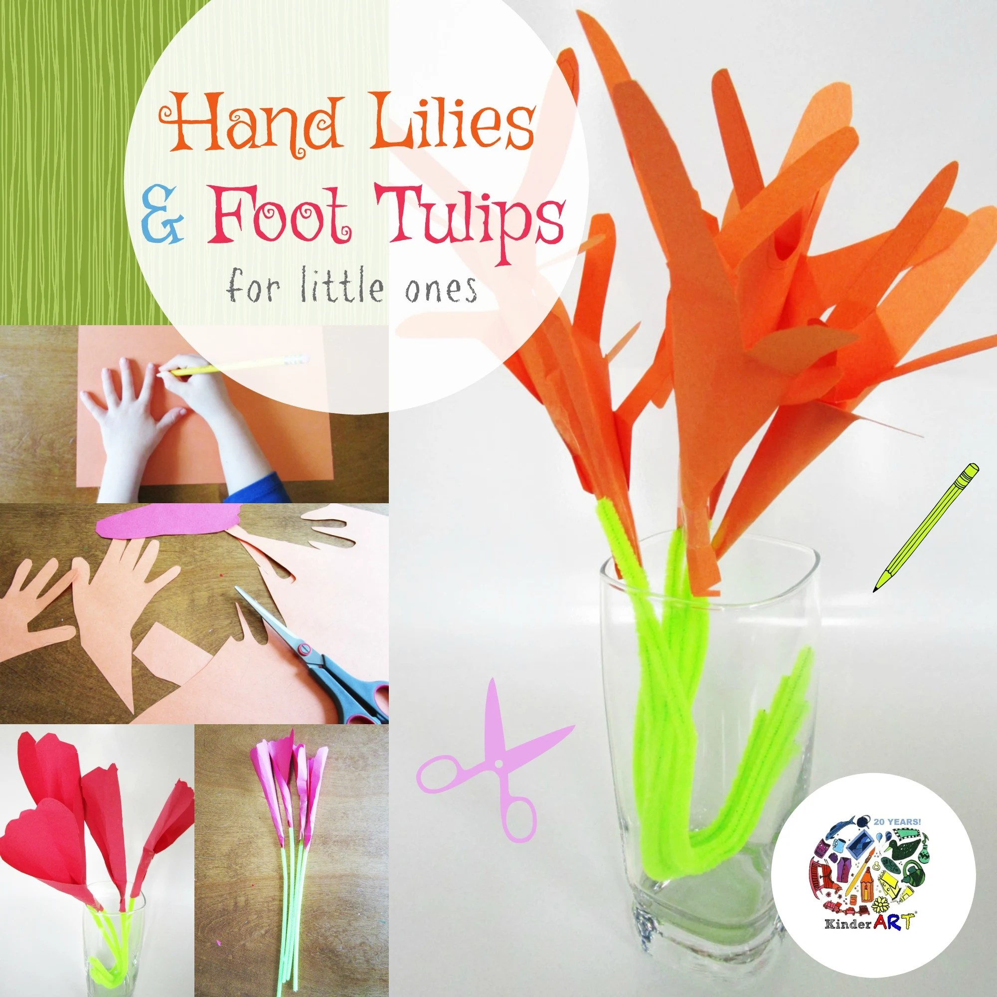Kinder Origami Hand Lilies And Foot Tulips Activity For Children From