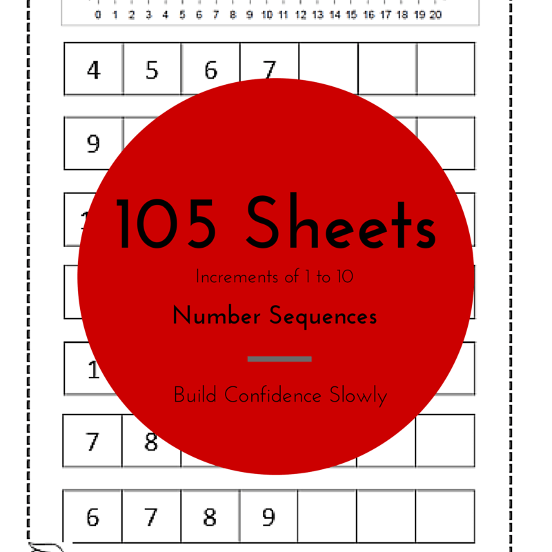 Number Sequences on printable number sequence worksheets 105 pages