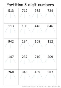 partition 3 digit numbers worksheet kindergarten printables. Black Bedroom Furniture Sets. Home Design Ideas