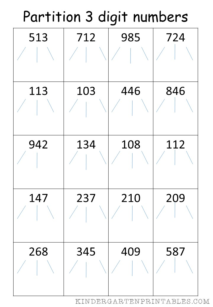 Partitioning Decimal Numbers Worksheet partitioning numbers ks2 – Maths Partitioning Worksheets