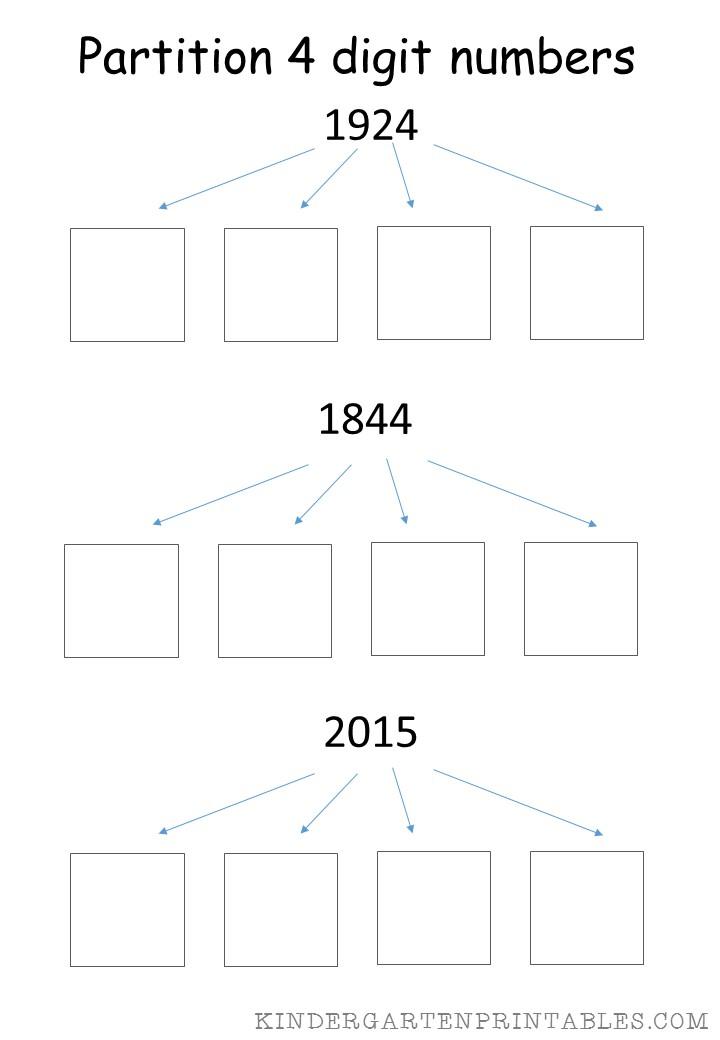 math worksheet : partition 4 digit numbers worksheet  kindergarten printables : Partitioning Decimals Worksheet