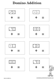 Domino Addition worksheets Kindergarten