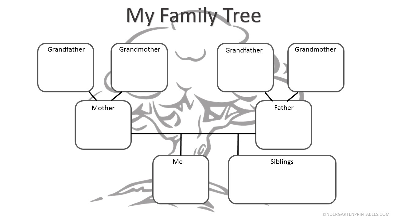 Family Tree Worksheet - Kindergarten printables