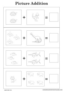 picture addition worksheets to 5
