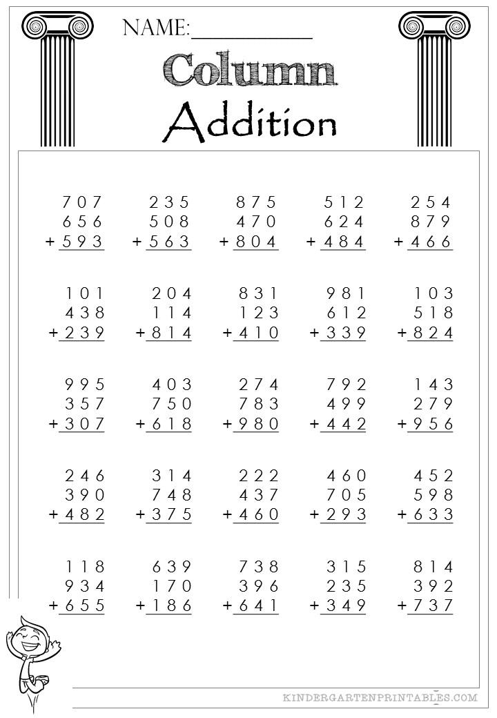 Addition Worksheets 3 Addends Vertical Worksheets for all ...