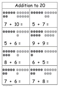 Addition to 20 worksheet free printable