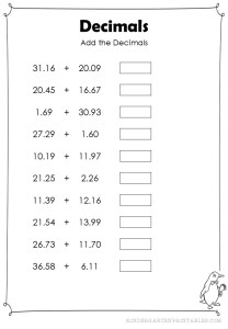 addition decimals hundredths worksheet