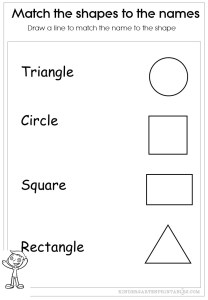 Match the shapes to their names worksheets