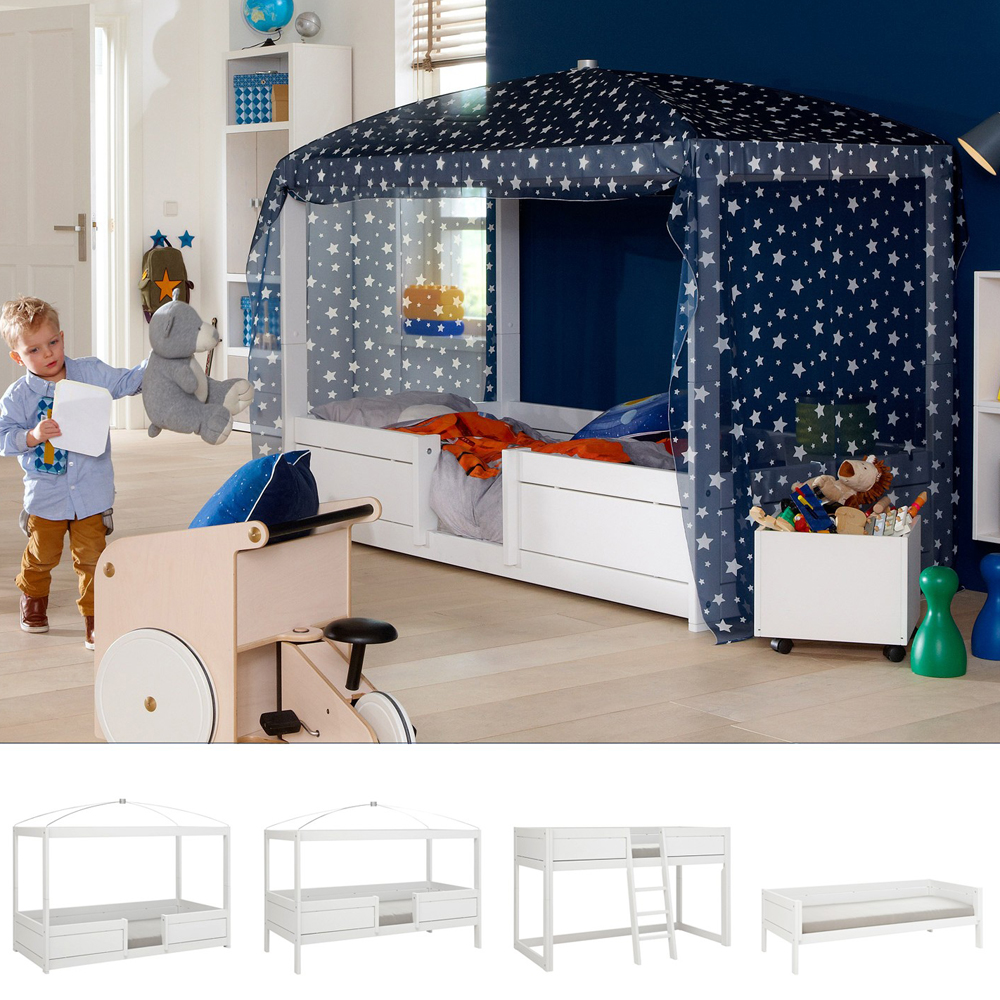 Kinderbett Massivholz Lifetime 4-in-1 Kinderbett / Hochbett / Himmelbett